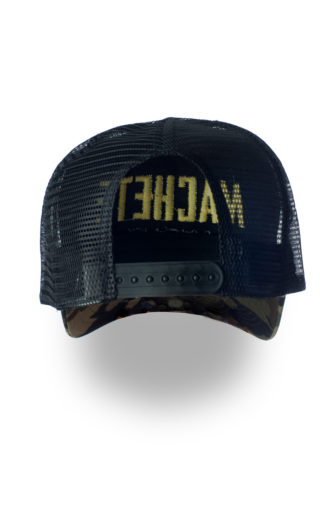 Camo cap trucker style with embroidery logo in yellow. Back side with plastic closed