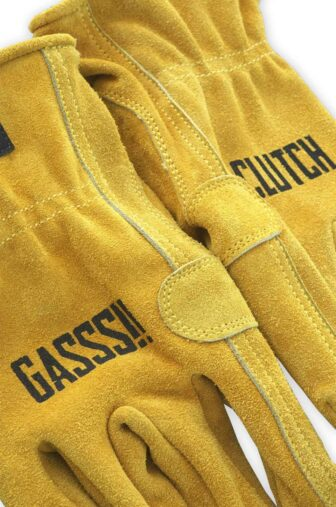yellow suede leather moto gloves detail