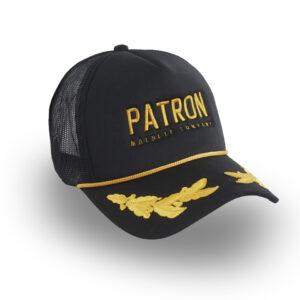 Gorra con texto Patron bordado en el frente y hojas de laurel bordadas