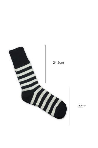 measurements stripes socks black and white
