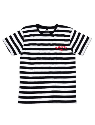 An Stripes tee, black and white over white background, with a printed logo on the left side