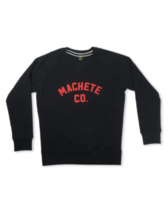 Black sweatshirt with red logo over white background