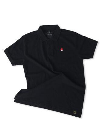 Polo negro piqué con el logo michelin xas en el pecho