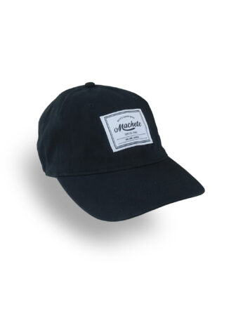 Black baseball cap with a label logo on the front side