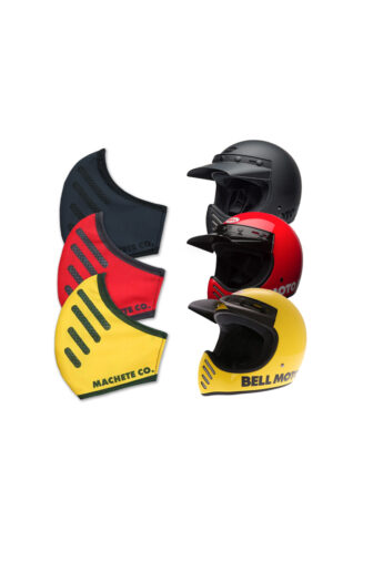 Bell moto 3 covid 19 mask in three different colors with its corresponding helmets