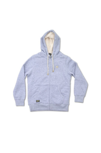 Grey hoodie, fleece lining inside, with two pockets and hood