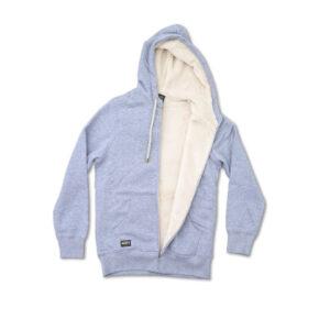 Grey hoodie, fleece lining inside