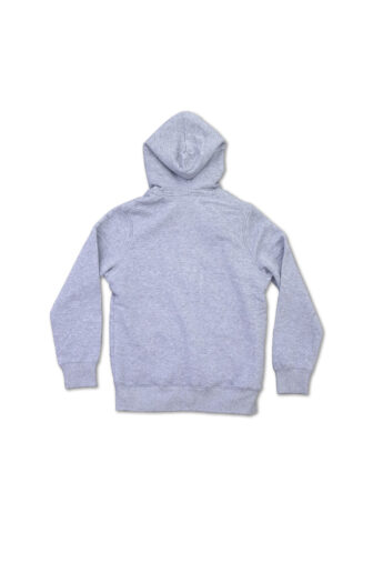 Back of the grey hoodie with fleece lining