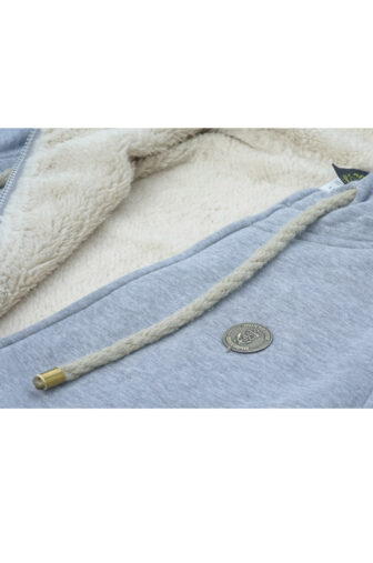 grey hoodie details with fleece lining and tin plate logo