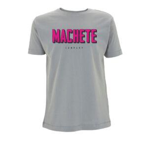 Camiseta gris con el logo de machete en rosa en el pecho