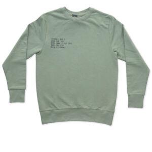 sweatshirt sage green printed on chest