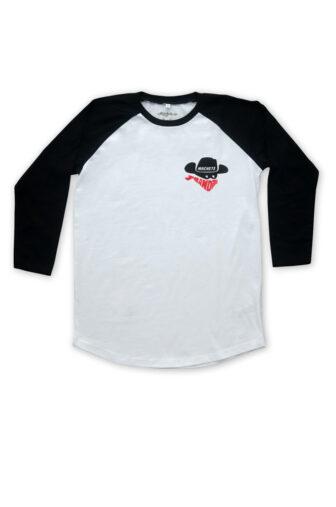 Camiseta manga ranglan, blanca y mangas negras