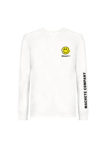 camiseta mang alarga blanca con ilustracion en el pecho izquierdo
