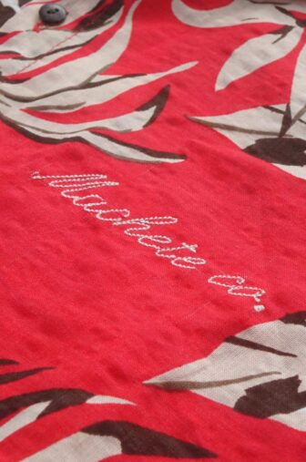 embroidery of hawaian red shirt
