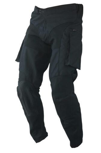 left view of black moto pant